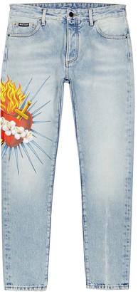 Palm Angels Sacred Heart printed skinny jeans
