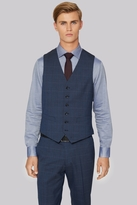 Hardy Amies Tailored Fit Blue Melange Check Waistcoat