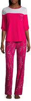Liz Claiborne Colorblock Pant Pajama Set-Petites