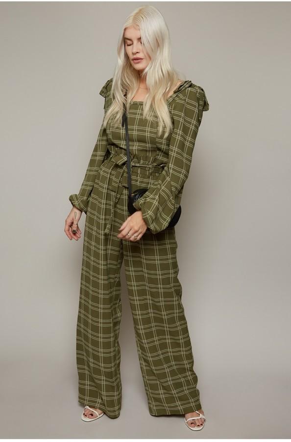 Little Mistress Ebury Khaki Check-Print Paperbag Trousers Co-ord