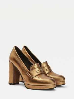 Tommy Hilfiger Metallic High Heel Loafers
