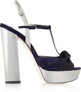 Miu Miu Metallic watersnake, suede and grosgrain platform T-bar sandals