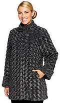 Dennis Basso Textured Rosette Faux Fur A-line Coat