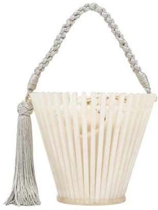 Montunas Trellis Lirio Pearlescent-acetate Bucket Bag - Womens - White Multi