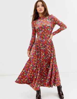 Free People heartland velvet floral midi dress-Red