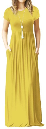 Smile Fish Casual Short Sleeve Plain Maxi Dresses with Pockets Summer Long Dress(Yellow L)