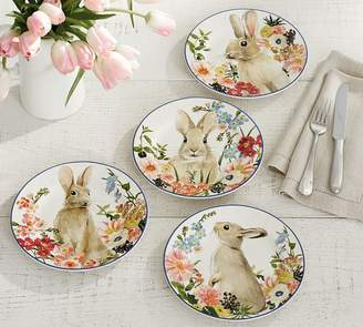 Pottery Barn Floral Bunny Salad Plates, Set of 4 - Assorted