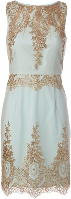 Minuet Women's Lace Embellished High Neck Fitted Short