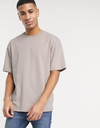 Topman oversized t-shirt in dark stone