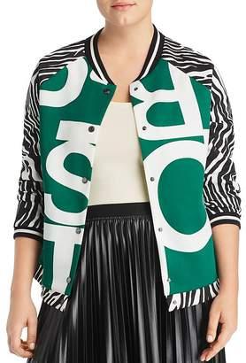 Marina Rinaldi Ocraceo Mixed-Print Bomber Jacket