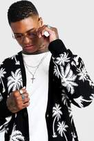 BoohoomanBoohooMAN Mens Black All Over Palm Print Knitted Cardigan, Black