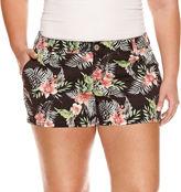 Arizona Black Floral Shorts-Juniors Plus