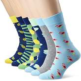 My Way MyWay Men's Graphic Vibes Calf Socks (Pack of 6), Multicoloured (coloured)