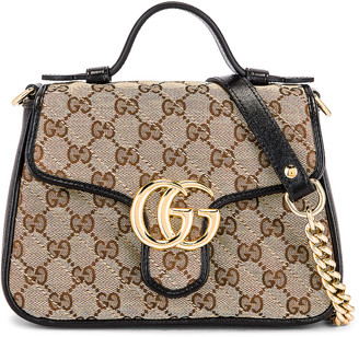 Gucci Top Handle Bag in Beige Ebony & Nero | FWRD