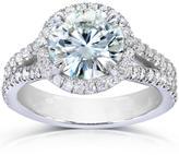 Kobelli Jewelry 2 2/5 CT Forever Classic Moissanite and Diamond 14K Gold Split Shank Engagement Ring