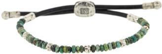 John Varvatos Adjustable Turquoise Sterling Silver and Leather Bead Bracelet