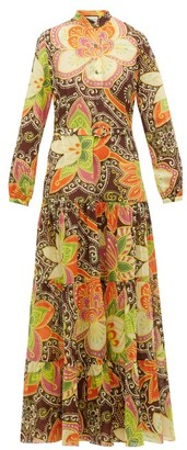 Gucci Floral-print Cotton-muslin Dress - Womens - Brown Multi