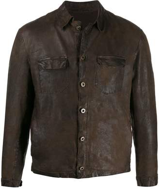 Salvatore Santoro cropped leather shirt jacket