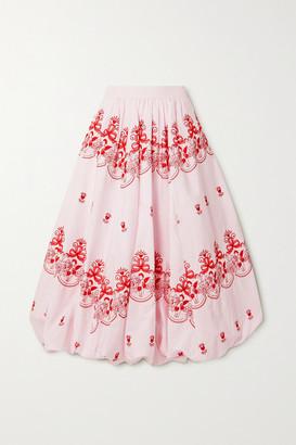 Simone Rocha Gathered Embroidered Cotton-poplin Midi Skirt - Pink