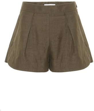 Chloé Pleated Linen and Cotton-Blend Shorts