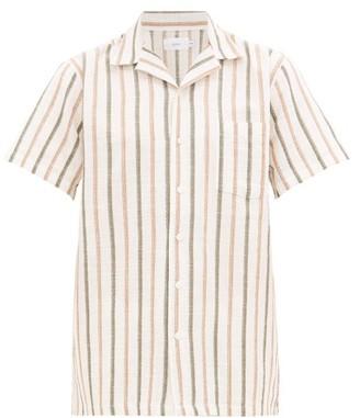 Onia Vacation Camp-collar Striped Linen Shirt - Mens - Multi