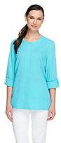 As Is Denim & Co. Crinkle Gauze Shirt w/ Roll Tab Sleeves