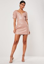 Missguided Pink Faux Leather Plunge Puff Sleeve Dress