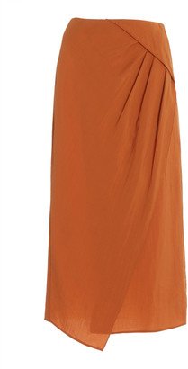 Vince Draped Jersey Midi Skirt