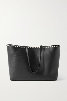 Valentino Garavani Rockstud Textured-leather Tote - Black