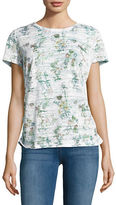 Haggar Petite Short Sleeve Floral Burnout T-Shirt