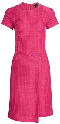St. John Poppy Textured Asymmetric Knit Dress