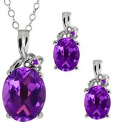 Gem Stone King 4.72 Ct Oval Amethyst Gemstone 18k White Gold Pendant Earrings Set