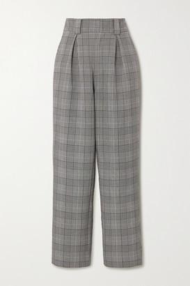 Ganni Prince Of Wales Checked Woven Wide-leg Pants - Light gray