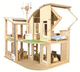 Plan Toys Green Dollhouse & Furniture Set