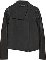Vince Leather-sleeved wool-blend biker jacket