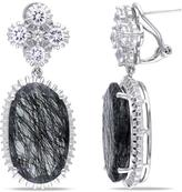 Sofia B 28 2/5 CT TW Black Rutile Created White Sapphire Silver Earrings