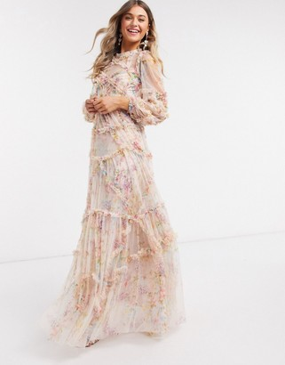 Needle & Thread ultimate ruffle maxi dress in floral print
