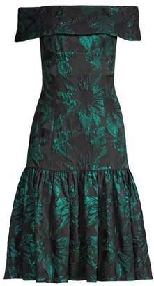 Aidan Mattox Off-the-Shoulder Ruffle Banded Dress
