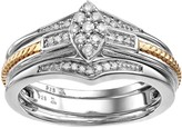 Always YoursTwo Tone Sterling Silver 1/5 Carat T.W. Diamond Marquise Engagement Ring & Enhancer Set