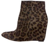 Brian Atwood Ponyhair Wedge Ankle Boots