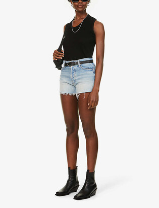 Mother The Tomcat mid-rise stretch-denim shorts
