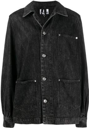 Ganni oversized patch pockets denim jacket