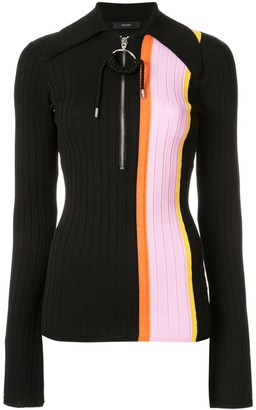 Ellery Striped Panel Polo Top