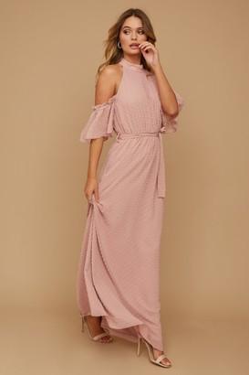 Little Mistress Emery Dusty Rose Dobby Spot Halterneck Maxi Dress