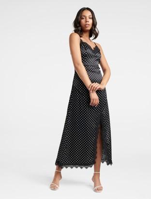 Forever New Patrice Lace-Trim Satin Midi Dress - Black/White Spot - 4
