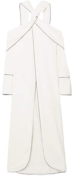 Monse Cold-shoulder Draped Crepe Top - White