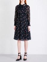 Masscob Floral-print silk-chiffon dress