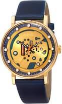 August Steiner Men's Blue Leather & Skeleton Dial Watch, 40mm