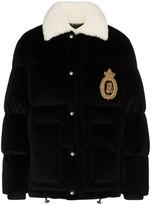 Dolce & Gabbana logo-embroidered velvet puffer jacket