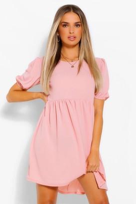 boohoo Woven Puff Sleeve Smock Dress